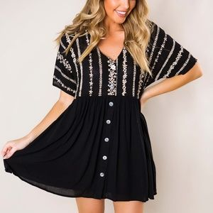 Black Embroidered Button Short Sleeve Tunic Dress